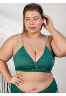 Top Biquíni Plus Size Verde Com Recorte Frontal