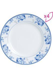 Jogo De Pratos Para Sobremesa Grécia- Branco & Azul Clarlyor
