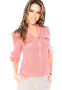 Camisa Manga Longa Aishty Slim Rosa