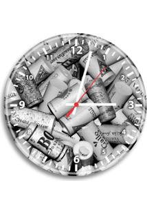 Relógio De Parede Decorativo Rolhas Preto E Branco Único