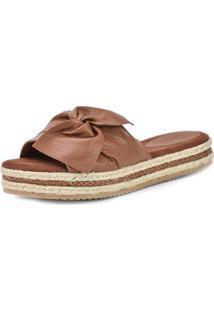 Sandália Flatform Scarpan Calçados Finos Em Couro Caramelo