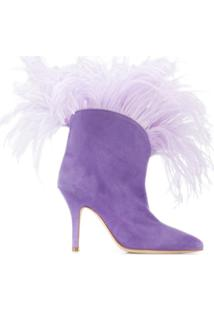 Paris Texas Lilla Feather-Trimmed Ankle Boots - Roxo