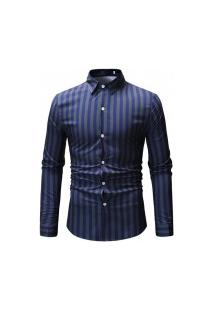 Camisa Social Ml15 Slim Fit - Azul E Verde