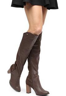 Bota Over The Knee Mississipi Cano Longo Metais Feminina - Feminino-Marrom