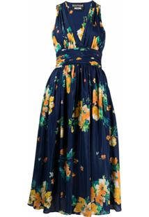 Boutique Moschino Vestido Evasê Com Estampa Floral - Azul