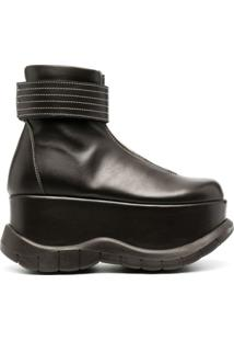 Sunnei Ankle Boot Com Plataforma - Marrom
