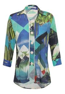 Camisa Canellado Vista Larga Estampada - Feminino