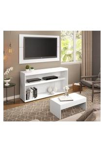 Rack C/Painel Tv Até 50 Pol.Mesa De Apoio Atualle Multimóveis Branco Acetinado Texturizado Ref. 2839 Branco