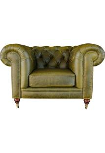 Poltrona Decorativa Sala De Estar Chesterfield Duo Couro Verde - Gran Belo