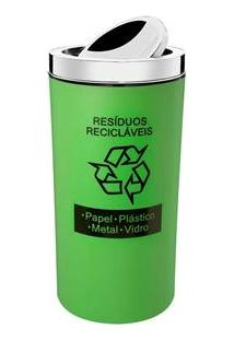 Lixeira Seletiva Para Resíduos Recicláveis Com Tampa Basculante Verde - 9 L