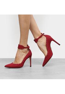 Scarpin Couro Carrano Salto Alto Spikes - Feminino-Vermelho