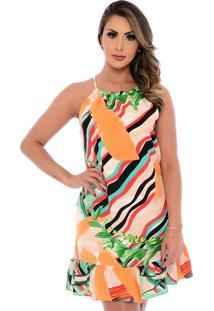 Vestido Curto B'Bonnie Viscose Cava Americana Alana Colorido