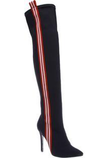 Bota Over The Knee Com Tiras - Preta & Vermelha- Salschutz