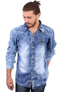 Camisa Manga Longa Polo Marmorizado Masculina - Masculino-Azul