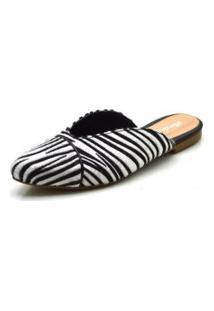 Mule Sapatilha Feminina Bico Fino Com Vivo Em Sintético Zebra Conforto