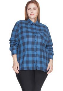 Camisa Xadrez 100% Algodão Bold Plus Size Azul Marinho