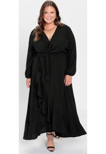 Vestido Plus Size Preto Longo Com Babados