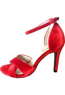 Sandália Blume Calçados Luxury Veludo Vermelha
