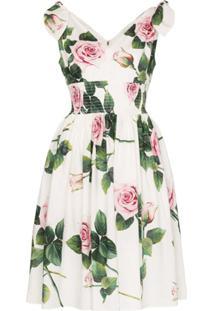 Dolce & Gabbana Vestido Com Estampa Floral - Branco