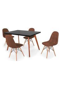 Conjunto Mesa De Jantar Gih 120X80Cm Preta Com 4 Cadeiras Botonê - Marrom