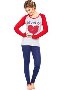 Pijama Any Any Heart Cinza/Azul