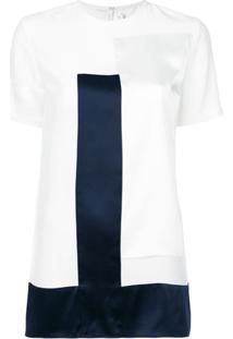Victoria Victoria Beckham Blusa Contrastante De Seda - Branco