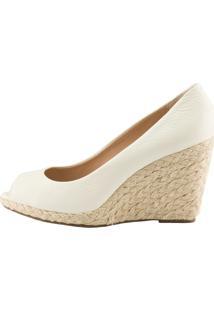 Anabela Delotto Peep Toe Floater Off White