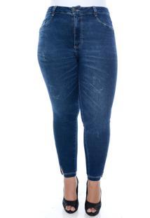 Calça Cambos Jeans Plus Size Skinny Cropped Com Fenda Azul