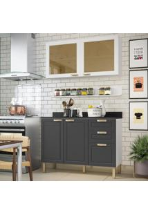 Cozinha Completa 4 Peã§As Americana Multimã³Veis 5920 Branco/Grafite - Branco/Incolor - Dafiti