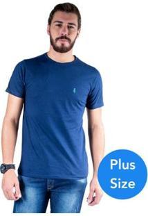 Camiseta Mister Fish Gola Careca Basic Top Hat Plus Size Masculina - Masculino-Marinho