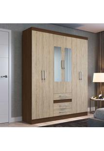 Guarda-Roupa Casal 6 Portas 3 Gavetas Com Espelho Rp3630/E Cacau/Malbec - Decibal Móveis