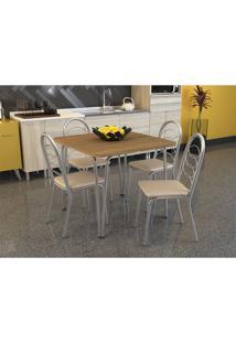 Conjunto De Mesa Amur Com 4 Cadeiras Holanda Cromado Nude Crome Kappesberg