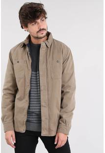 Jaqueta De Sarja Masculina Acolchoada Com Bolsos Kaki
