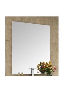 Espelheira Para Banheiro Com Painel 80Cm Branco Em Mdf