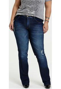 Calça Feminina Jeans Puídos Reta Plus Size Biotipo
