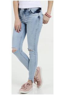 3954c63bf ... Calça Feminina Jeans Cigarrete Rasgos Cintura Média Sawary