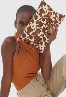 Clutch Jorge Bischoff Animal Print Bege - Kanui