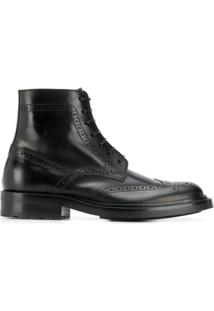 Saint Laurent Bota Estilo Brogue - Preto