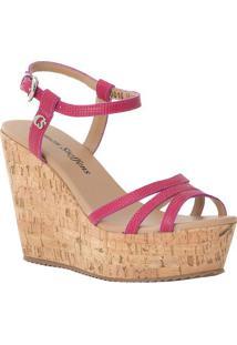Sandália Plataforma Em Couro- Pink & Marromcarmen Steffens