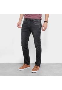 Calça Jeans Skinny Replay Anbass Estonada Puídos Masculina - Masculino-Jeans