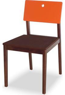 Cadeira Flip Cor Cacau Com Encosto Laranja Vivo - 30839 - Sun House