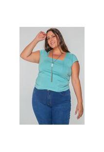 Blusa Decote Reto Plus Size Verde Blusa Decote Reto Plus Size Verde M Kaue Plus Size