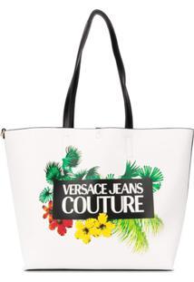 Versace Jeans Couture Bolsa Tote Com Estampa De Logo Floral - Branco