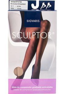 Meia Calça Anticelulite Sigvaris Sculptor 15-20Mmhg Tamanho P Curto (P1) Ponteira Fechada Cor Natural