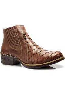 Bota Country Capelli Boots Texana Escamada Couro Detalhes Costura Masculina - Masculino-Marrom