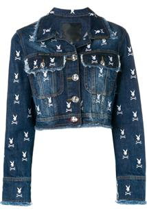 Philipp Plein Jaqueta Jeans Com Logo 'X Playboy' - Azul