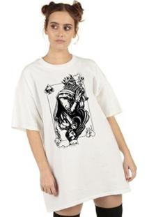 Camiseta Skull Clothing King And Queen Feminina - Feminino-Branco