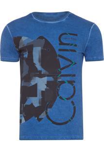 Camiseta Masculina Estampa E Lavagem - Azul