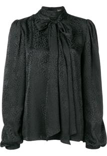 Saint Laurent Blusa De Seda Slim Bordada - Preto