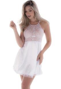 Camisola Em Microfibra Com Renda Vazada Feminina - Feminino-Branco